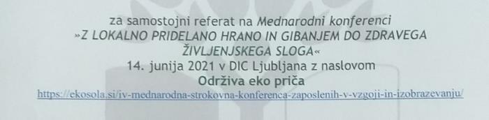 Na međunarodnoj konferenciji u Ljubljani predstavljen rad Dječjeg vrtića CVRČAK Virovitica